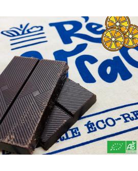 Tablette chocolat noir bio 72% oranges confites