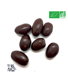 Amandes enrobées de chocolat noir bio